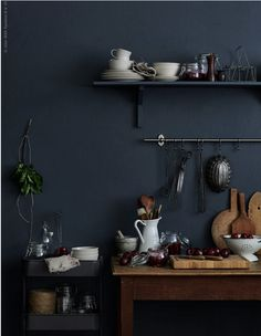Ideas For Kitchen Ikea Black Dark Walls Ikea Kitchen Design, Kitchen Interior, Interior Office, Kitchen Ideas, Room Kitchen, Interior Desing, Interior Inspiration, Modern Interior, Raskog Ikea