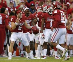 Oklahoma's Baker Mayfield (6) celebrates after an Oklahoma interception during a college football game between the University of Oklahoma Sooners (OU) and the Texas Tech University Red Raiders (TTU) at Gaylord Family-Oklahoma Memorial Stadium in Norman, Okla., on Saturday, Oct. 24, 2015. Oklahoma won 63-27. Photo by Bryan Terry, The Oklahoman