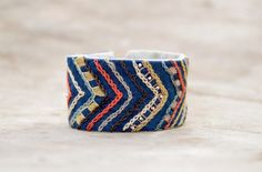 Ethnic blue textile cuff / bracelet. Natural and eco by Mioltu