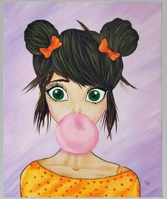 """Bubble Girl 16""""x20"""" Painting Canvas Board, Colorful Paintings, Bubbles, Wall Art, Wood, Artist, Anime, Color Paints, Woodwind Instrument"""