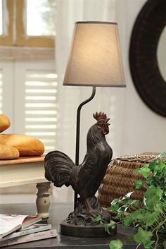 French Country Cottage Rooster Accent Table Lamp