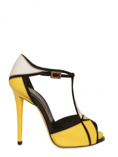 Fun Pop of color to dress up a black suit! Roger Vivier 120mm Prismick Leather & Suede Sandals
