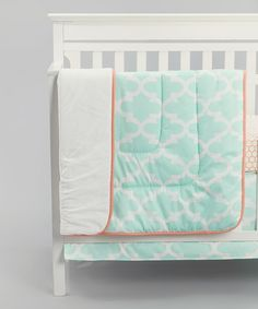 Look at this Carousel Designs Mint Quatrefoil Comforter on #zulily today!