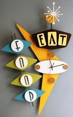 Steel clocks & signs designed and welded by Stevo Cambronne and painted by his wife, Beverly!  These are Wonderful!!  ~ stevotomic.com