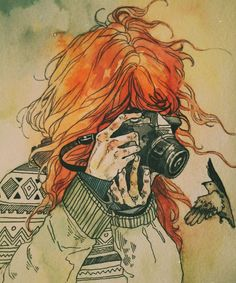 ~someone needs to get this girl a good camera~ Art Sketches, Art Drawings, Redhead Art, Art Graphique, Art Plastique, Art Sketchbook, Anime Art Girl, Art Inspo, Art Journals