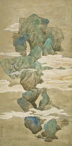 Yu Hui Landscape within rocks - Spring, Summer, Autumn and Winter Asian Landscape, Chinese Landscape Painting, Landscape Art, Landscape Paintings, Japan Painting, China Painting, Japanese Drawings, Japanese Art, Korean Art
