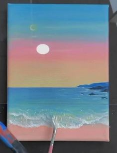 Simple Canvas Paintings, Easy Canvas Art, Small Canvas Art, Easy Paintings, Easy Landscape Paintings, Easy Canvas Painting, Canvas Canvas, Diy Painting, Canvas Prints