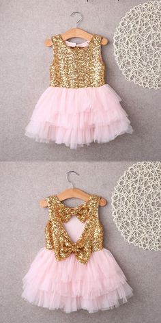 pink flower girl dress, gold sequins flower girl dress, flower girl dress with bow