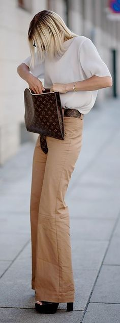 Camel Flare Pants, white blouse black purse and heels. Street summer elegant women fashion outfit clothing style apparel @roressclothes closet ideas