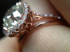 The ring is a hand forged Rose Gold, size 7 at it's widest. The diamond is a GIA certed Old Mine brilliant sourced through Adam at Old World Diamonds. Beautiful Wedding Rings, Beautiful Engagement Rings, Glitz And Glam, Ring Earrings, Wedding Ring Bands, Just In Case, Diamond Jewelry, Halo, Gold Rings
