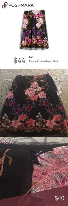 Elayne embroided skirt NWT Floral embroided skirt from stitch fix✨ ECI Skirts
