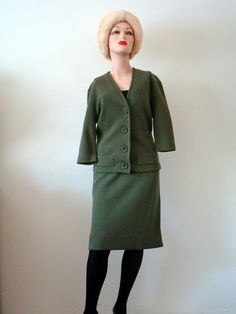 1960s Wool Knit Suit / Mohair Pencil Skirt & Cardigan Sweater
