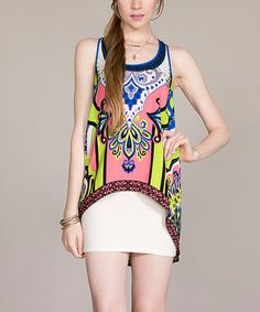 Loving this Pink Damask Hi-Low Sidetail Tank on #zulily! #zulilyfinds