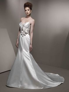 Sweetheart empire waist trumpet / mermaid satin wedding dress