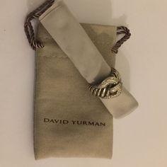 David Yurman David Yurman. Stunning diamond buckle ring. Size 6.5. Sterling Silver. Missing one diamond. Plz see pictures. David Yurman Jewelry Rings