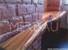 wood Table LEOLA with steel inserts, from suar slab