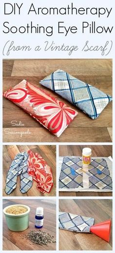 Create your own relaxing spa experience by putting an old scarf to a good new use- with a DIY aromatherapy eye pillow! Stress relief meets repurposing and takes no time to make- basic sewing skills, a vintage scarf, and some soothing ingredients are all you need. Simple, soothing upcycle craft project from #SadieSeasongoods / http://www.sadieseasongoods.com