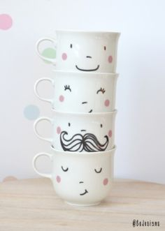 tea cups, happy faces, handprinted ceramics by Bodesigns