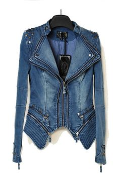 Punk Studded Denim Jacket With Removable Hem #deepvcardiganwomen The jacket has been crafted in denim, featuring double laples, long sleeves with stud and zip embellishments, zip closure to the front, natural fading, removable hem with zip closure, loose waist, in a regular fit.