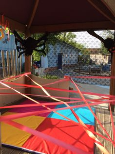 Incy Wincy spun a web outside as part of our Minibeast Topic. Children faced a team work & physical challenge!