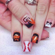 SF giants baseball acrylic nails :) WORLD SERIES 2012!!!! Lincecum, Wilson, and panda (Sandoval)!!!