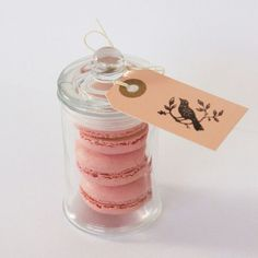 Mini macaroons in a jar. Wedding favor