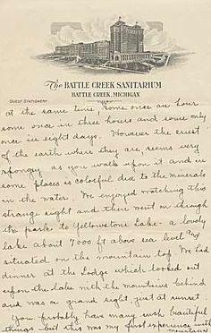 Battle Creek, Michigan - The Battle Creek Sanitarium. Um 1920. Alter handschriflicher Brief