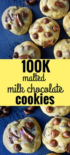 Two unique, secret ingredients that set these cookies apart from the rest. Milk chocolate malt cookies made with vanilla malt powder and a touch of sweetened…More Best Cookie Recipes, Baking Recipes, Dessert Recipes, Dessert Ideas, Appetizer Recipes, Milk Chocolate Chip Cookies, Chocolate Malt, Malt Powder Recipe, Malt Recipe
