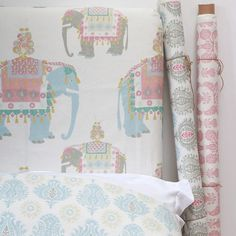 Orlando the Great is a new design from Northumbrian based wallpaper and textile designer Charlotte Gaisford. A large scale print with Ottoman elephants on linen union, in soft blues and pinks ideal for a child's bedroom. #nursery #childrensbedroom