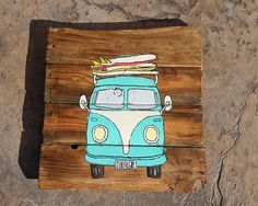 VW Bus with surfboard - reclaimed wood Etsy listing at https://www.etsy.com/listing/192356419/reclaimed-wood-vintage-vw-bus-and