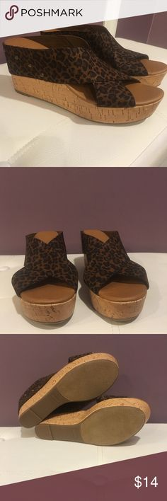 Leopard Wedges Sonoma size 8 1/2 Leopard print cross cross stretchy strap with stud details on cork wedge. Worn once! Only noticed one sign of wear as shown in last pic. (Have same shoes in blue in a separate listing) Sonoma Shoes Wedges
