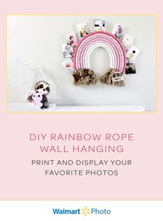 Make your own Rainbow Rope Wall Hanging with simple materials and this easy tutorial! Home decor is extra special when it includes photo prints! Print and clip on your favorite photos with Walmart Photo's same-day services! #ad