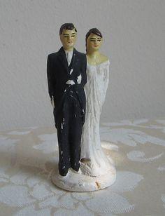 Vintage Bride & Groom Chalkware Wedding Cake Topper Figurines Statues