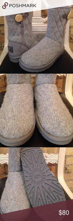 UGG Mountain Quilted Knit Boots Lined with sheepskin, these UGG boots make cold weather bearable!  Excellent used condition   Size 7. Hologram in label UGG Shoes Winter & Rain Boots