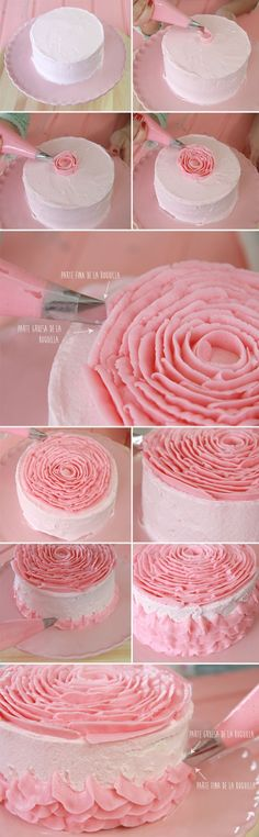 Tutorial Tarta de Rosa - Not in English, but lots of pics - Tip 104 great idea to decorate this beautiful cake. Cake Decorating Techniques, Cake Decorating Tutorials, Cookie Decorating, Decorating Cakes, Decorating Ideas, Deco Cupcake, Cupcake Cookies, Cake Icing, Buttercream Cake