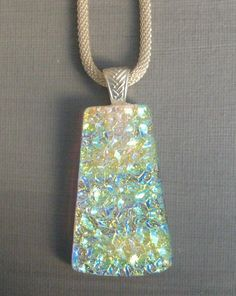 Gold and Violet Fused Glass Necklace Dichroic Jewlery
