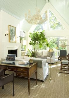room layout, desk as sofa table, fig tree, white walls