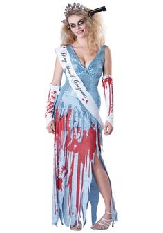 This drop dead prom queen costume is a sexy zombie costume for women. Arrive to your prom all bloodied up when you wear this drop dead prom queen costume. Halloween Zombie, Costume Halloween, Zombie Prom Queen Costume, Scary Costumes, Halloween Costumes For Girls, Halloween Fancy Dress, Girl Costumes, Adult Costumes, Costumes For Women