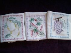 hand embroidered set of 3 dish towel tea towel pears strawberrys grapes fruit