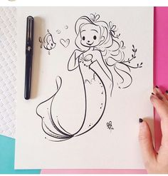💕 First half of my original inktober drawings are available in my shop tonight at PST. Mermaid Sketch, Mermaid Drawings, Disney Character Drawings, Disney Drawings, Cartoon Drawings, Cute Mermaid, Mermaid Art, Pen Illustration, Illustrations