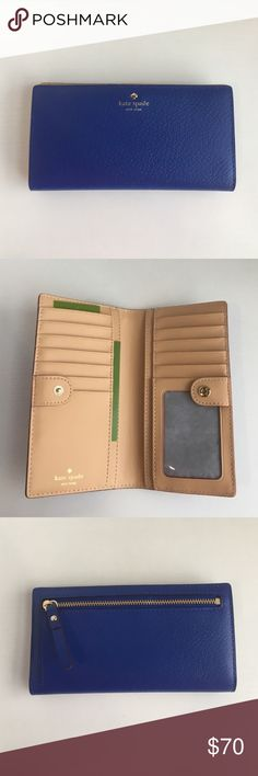 """Kate Spade Grand Street Lapis Stacy Coin Wallet A cute companion for a day of shopping!   Materials:   • Leather • 14-karat light gold plated hardware  Details: • Snap Closure • Two Billfold Slots • Twelve Credit Card Slots • One ID Window • Zip pocket on back of wallet  Product Dimensions: 6.6""""H X 3.5""""W kate spade Bags Wallets"""