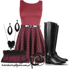 Dark Houndstooth, created by hvershure on Polyvore