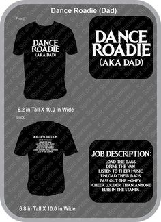 e677b88b Dance Roadie Dad T-Shirt or Hoodie by SpiritAndSparkles on Etsy Team Mom,  Dad