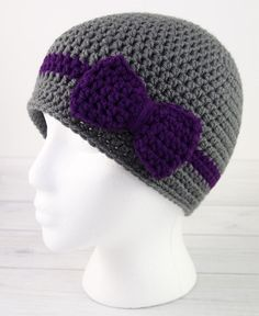 The delightfully easy Wrapped with Love Crochet Hat pattern is the perfect gift to make for anyone on your family. This pattern comes in multiple sizes, from newborn through adult, so if you're scrambling for something that's thoughtful, this is perfect. This pattern is easy to work and features a crochet bow pattern tutorial, for you to attach to your hat later. This crochet beanie looks striking in gray and a deep purple, as shown, but it can be made in any color for a stunning look. And…