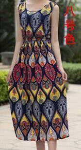 9 Colors Sleeveless Bohemia Dresses Summer Style New Fashion Women Printed Dress Elegant Plus Size Casual Slim Dresses Female
