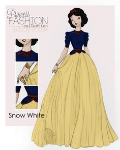 Princess Fashion Colection - Snow White by ~HigSousa on deviantART - One of my favorites from this artist, it's so vintage Hollywood glam, which makes sense since Snow was the first Princess. <3