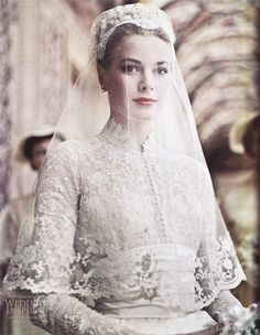 Because Grace Kelly rocked this look over 60 years ago.  Grace Kelly / Kate Middleton inspired wedding dresses.