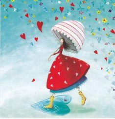 by Mila Marquis - Illustration (ca Art And Illustration, Marie Cardouat, Decoupage, Art Fantaisiste, Photo Deco, Art Carte, Under My Umbrella, Whimsical Art, Gods Love