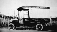 Flemington, Victoria, 1927 - Museum Victoria Ford truck belonging to Bob Smith, carrier, Duncan St, Flemington. http://museumvictoria.com.au/collections/items/765583/negative-flemington-victoria-1927