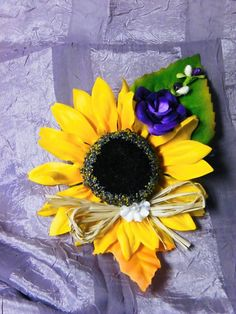 Grandmother's corsage #sunflower #purple #country